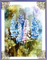 watercolor delphiniums